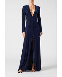 Galvan London Velvet Devoré Stardust Gown - Blue