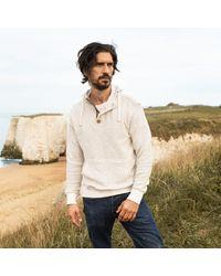 Gandys Ecru Cobble Texture Button Neck Hoodie Knit - Natural