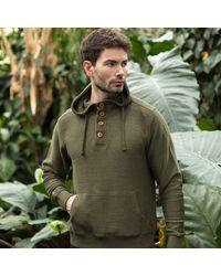 Gandys Khaki Cobble Texture Button Neck Hoodie Knit - Multicolour