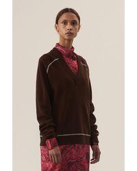 Ganni Wool Knit V-neck Pullover - Red