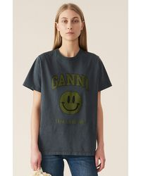Ganni Basic Cotton Jersey T-shirt, Smiley - Multicolor
