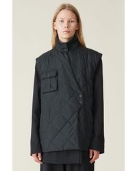 Ganni Recycled Ripstop Quilt Vest - Black