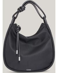 Ganni Recycled Polyester Large Baguette Bag Black One Size