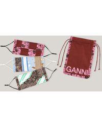 Ganni Patchwork Organic Cotton Face Masks Madder Brown One Size