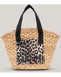 Ganni Straw Basket Leopard One Size - Brown