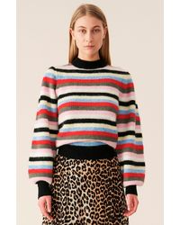Ganni Soft Wool Knit Pullover - Striped - Multicolor