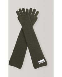 Ganni Knit Gloves - Green