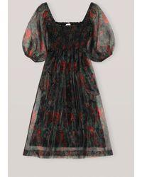 Ganni Organza Midi Dress - Black