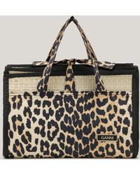Ganni Organic Cotton Straw Mat Leopard One Size - Multicolour
