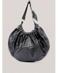 Ganni Draped Leather Xxl Hobo Bag - Black