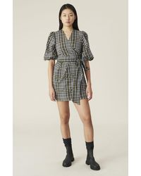 Ganni Seersucker-check Wrap-over Cotton-blend Mini Dress - Multicolor
