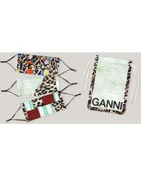 Ganni Patchwork Organic Cotton Face Masks Kelly Green One Size