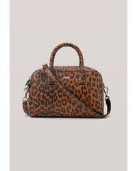 Ganni Leather Top Handle Bag - Brown
