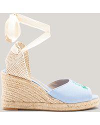 Ganni Lace-up Jute Wedge Espadrilles Forever Blue Size 36