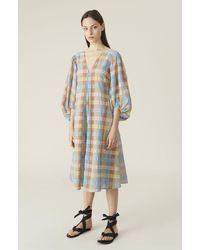 Ganni Seersucker Check Dress Multicolor - Blue