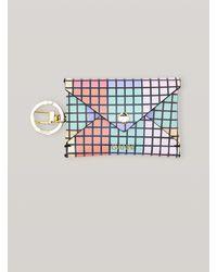 Ganni Leather Printed Envelop Keychain - Multicolour