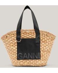 Ganni Straw Basket Black One Size