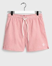 GANT Classic Fit Seersucker Swim Shorts - Red