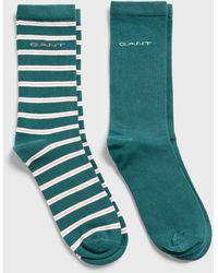 GANT 2-pack Solid & Stripe Socks - Green