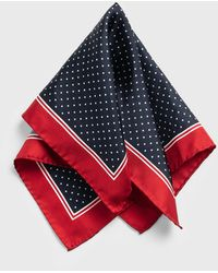 Clothing Ralph Lauren Polo Mens Silk Pocket Square Navy Blue Red Dots Clothing, Shoes & Jewelry