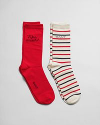 GANT Quote & Stripe Sock Gift Box - Red