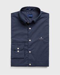 GANT Regular Fit Tech Preptm Micro Dot Broadcloth Shirt - Blue