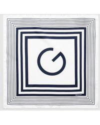 GANT Tonal Stripe G Silk Scarf - Blue