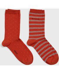GANT 2-pack Stripe & Mini Dot Socks - Red