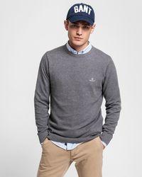 GANT Sweater Met Ronde Hals Van Piquékatoen - Grijs