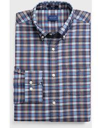 GANT Regular Fit Tech Preptm Indigo Check Shirt - Blue