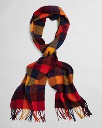 GANT Multi Check Wool Scarf - Red