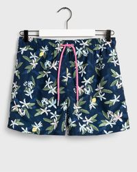 GANT Classic Fit Lemon Flowers Swim Shorts - Blue