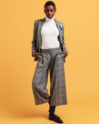 GANT Checked Cropped Wide Trousers - Grey