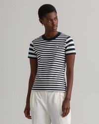 GANT Striped Summer T Shirt - Blue