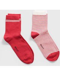 GANT Two-pack Striped Socks - Red