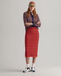 GANT Breton Stripe Jersey Skirt - Red