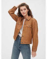 Gap 1969 Premium Oversized Icon Leather Jacket - Brown