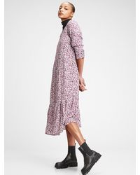 Gap Three-quarter Sleeve Flounce Midi Dress - Purple