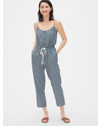 Gap Stripe Cami Jumpsuit In Linen-cotton - Blue