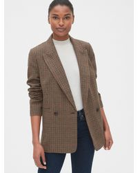 Gap Classic Houndstooth Girlfriend Blazer - Brown