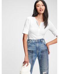 Gap Ribbed Henley T-shirt - White