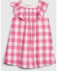 Gap Gingham Flutter Dress - Pink