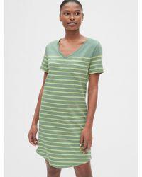 92da116b4c8fb Gap - Stripe Relaxed V-neck Pocket T-shirt Dress - Lyst