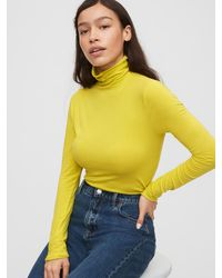 Gap Fitted Funnel-neck T-shirt - Yellow
