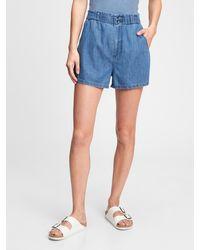 Gap Paperbag Denim Shorts In Tm Lyocell - Blue