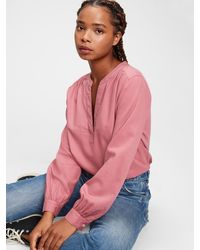Gap Shirred Popover Top - Pink