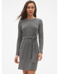 57c050ae3e16 Gap - Softspun Ribbed Long Sleeve Tie-waist Dress - Lyst