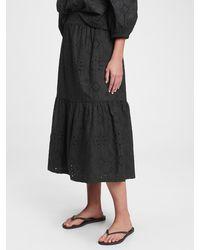 Gap Eyelet Midi Skirt - Black