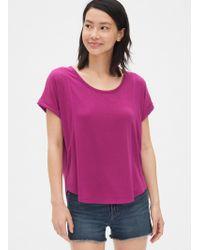 Gap Softspun Roll Sleeve T-shirt - Purple