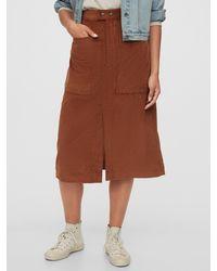 Gap A-line Corduroy Midi Skirt - Brown